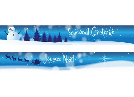 Two Christmas banners on a blue background theme. One with the message Seasonal Greetings, the other with Joueux Noel.