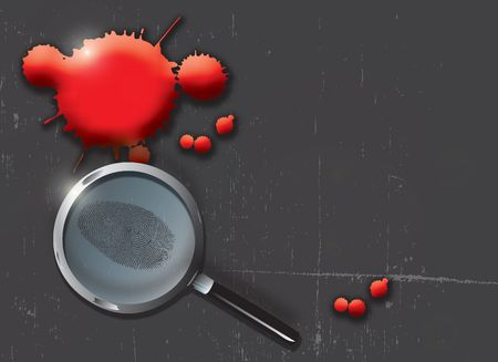A landscape format illustration of blood spatters on a slate grey grunge style background, with a magnifying glass highlighting a finger print. illustration