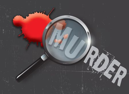A landscape format illustration of blood spatters on a slate grey grunge style background, with a magnifying glass highlighting the word murder.