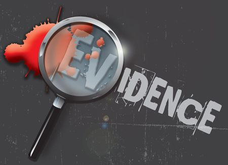 evidence: A landscape format illustration of blood spatters on a slate grey grunge style background, with a magnifying glass highlighting the word evidence. Stock Photo