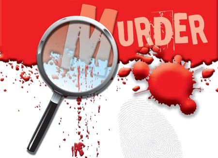 A landscape format illustration of blood spatters on a white background, with a magnifying glass highlighting the word murder. Stock Photo