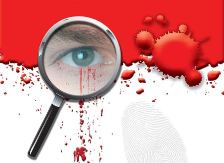 crime solving: A landscape format illustration of blood spatters on a white background, with a magnifying glass highlighting a mans eye with dripping blood.