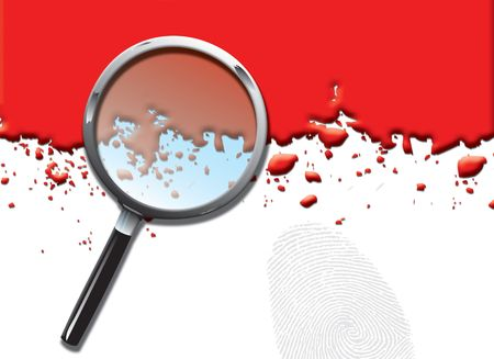 A landscape format illustration of blood spatters on a white background, with a magnifying glass and large fingerprint.