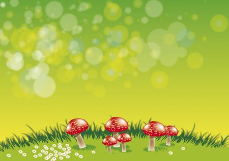 An illustration of a group of red toadstools set on a grassy ridge with daisys set against a green background. Stock Illustration - 6116403