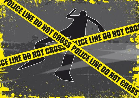 A grunge styled illustration on a crime based theme. A body outline with police tape set on a grunge style background. Stock Photo