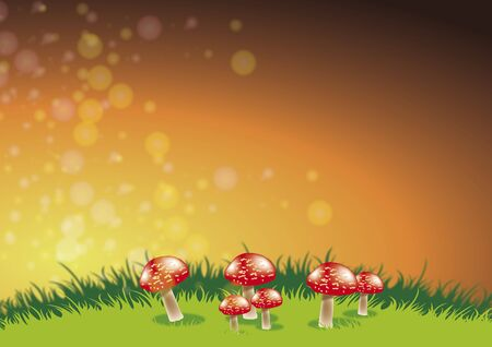 fairyland: An illustration of a group of red toadstools set on a grassy ridge with daisys set against a sunset style background. Stock Photo