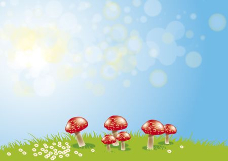 An illustration of a group of red toadstools set on a grassy ridge with daisys set against a pale blue sky background.