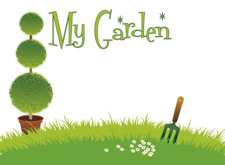 A landscape format with a three tear potted topiary bush set on a green grassed background with a small garden fork and daisys on a white background, with text spelling the words My Garden. Room for additional copy. photo
