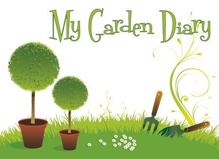 A landscape format image of two potted topiary bushes set on a green grassed background with a small garden fork and spade. Set with text spelling the words My Garden Diary. Room for additional copy. photo
