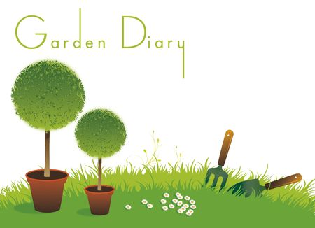 A landscape format image of two potted topiary bushes set on a green grassed background with a small garden fork and spade. Set with text spelling the words Garden Diary. Room for additional copy.