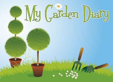 A landscape format image of two potted topiary bushes set on a green grassed background with a small garden fork and spade and daisys on a blue sky background. Set with text spelling the words My Garden Diary. Room for additional copy. photo