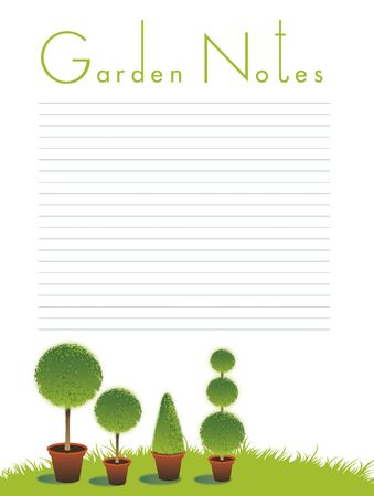 A portrait format image of topiary bushes set on a green grass background on an isolated white backdrop. Text to top spelling the words Garden Notes. Room for additional copy. photo