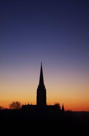 Sunset over Salisbury Cathedral in Salisbury, Wiltshire UK. photo