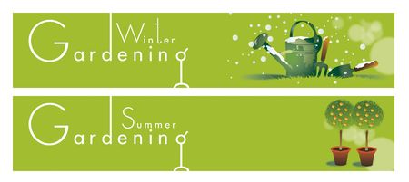 Two horizontal gardening themed banners set on a green background base. Winter and summer themed.