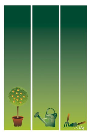 Three vertical gardening banners set on a graduated green background base. Topiary,Watering Can and Garden Tools. Space for additional copy etc. photo