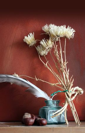 A portrait format image of a still life arrangement of dried flowers with an ink pot and feathered quill, sert on a wooden mantle shelf against a grunge styled backdrop withconkers. Stok Fotoğraf