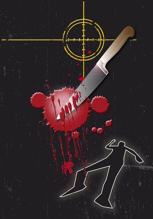 sprawled: Un grunge de estilo ilustraci�n sobre un tema de la delincuencia que se basa. Un contorno sangriento de cuchillo, el destino y el cuerpo en una base de negro. Foto de archivo
