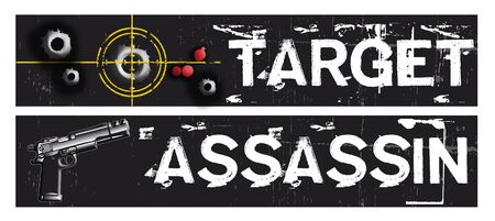 gunsight: Two horizontal crime themed banners set on a black grunge background base. Target and assassin themed.