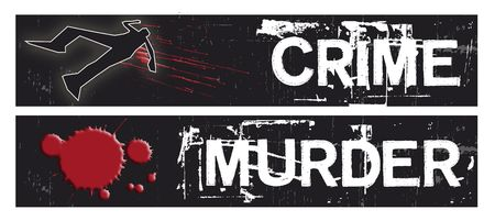 Two horizontal crime themed banners set on a black grunge background base. Crime and Murder themed. Stock Photo