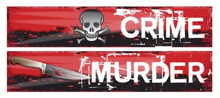 sprawled: Two horizontal crime themed banners set on a bloody red grunge styled background base. Crime and murder.
