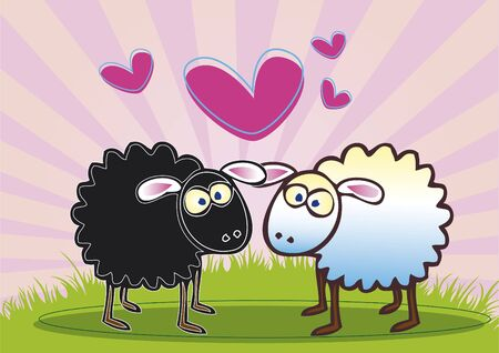 A hand drawn illustration of one black and one white coloured sheep. Both staring at each other with love hearts busrsting above their heads. illustration