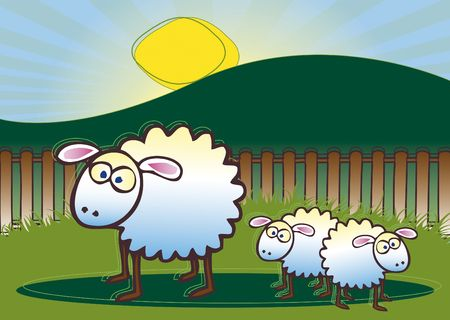 An illustration of a family of sheep consisting of a mother and two lambs set against a rural background with setting sun. Stock Photo