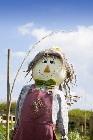 A smiling hand made scarecow stuffed with straw and wearing a red pair of dungarees with a blue checkered shirt , a green felt bow tie and a hesian hat. Set against a blue sky background, and vegetable garden.