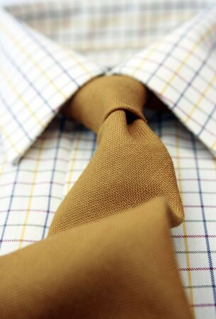 angled view: A close up view of a mans cotton checkedshirt with a matching mustard coloured woolen tie. Low angled view with focus to middle.