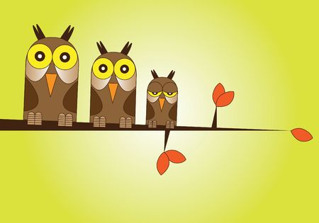 Hand drawn Illustration of a family of owls perched on a branch over a warm sunset background. illustration