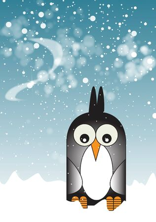 wintery: A stylized cartoon character of a penguin. set on a portrait format with snow to the foreground, and a wintery sky with falling snow.