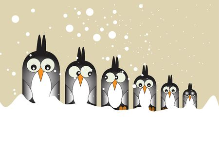 A Hand drawn Illustration of six stylized penguin birds set in a row looking forward. Set on a white snowy foreground, with falling snow over a sky background. illustration