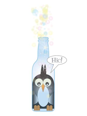 fizzy: A Hand drawn Illustration of a stylized penguin trapped inside a clear blue glass bottle, with fizzy bubbles emerging from the top of the bottle. Set on a white isolated background. Stock Photo