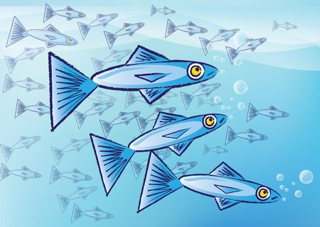 sardines: An illustration of stylized sardine fish. Three sardines to the foreground with a shoal, or school, of sardines to the background over a blue background. Stock Photo