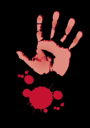 bloody hand print: An illustration of a bloody hand print with a blood splatter set on a black background.
