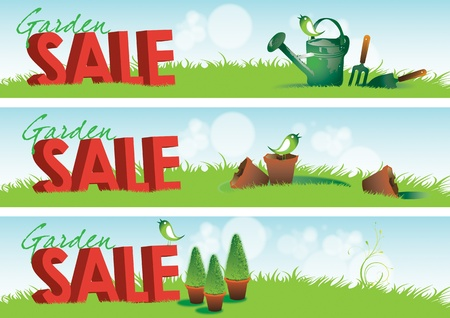 terracotta: Three garden themed horizontal banners with 3d rendered type spelling the word sale set in green grass with various garden tools and broken terracotta pots. Stock Photo