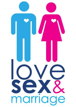 Una imagen gráfica que representa la Unión del conjunto masculino y femenino, con texto en rosa y azul que representa el amor, el sexo y el matrimonio. Foto de archivo - 9668745