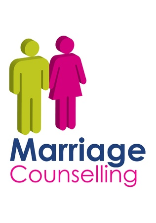 A graphic image representing a male and femal seeking marriage counselling, set with text in blue and pink.
