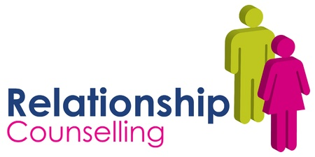 A graphic image representing a male and female seeking relationship counselling, set with text in blue and pink.
