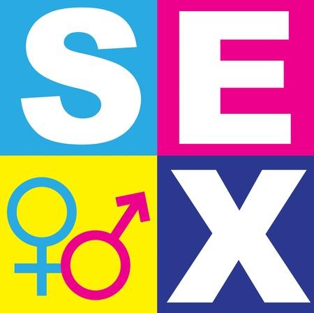 Una representación gráfica de las relaciones entre el hombre y la mujer en el contexto de la educación sexual, el amor y el sexo. Uso de texto, gráficos y símbolos alquímicos en brillantes colores bloques de color. Foto de archivo
