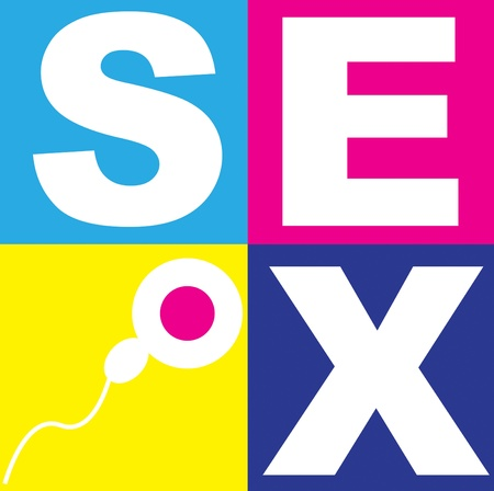 sex education: A graphic representation of sex, love and relationships between man and women in the context of sex education. Using text and graphics on bright colored blocks of color.