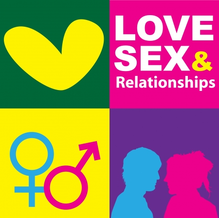 A graphic representation of love, sex and relationships between man and women in the context of sex education. Using text, graphics and alchemical symbols on bright colored blocks of color.