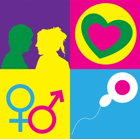 A graphic representation of sex, love and relationships between man and women in the context of sex education. Using text, graphics and alchemical symbols on bright colored blocks of color.