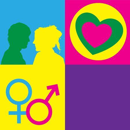 Una representación gráfica de las relaciones entre el hombre y la mujer en el contexto de la educación sexual, el amor y el sexo. Uso de texto, gráficos y símbolos alquímicos en brillantes colores bloques de color. espacio para copiar en el panel derecho de la parte inferior. Foto de archivo