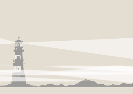 An illustration of a lighthouse and rocks set on a landscape format. Beams of light shine from the lighthouse, with folds of mist at the base. Stock Photo