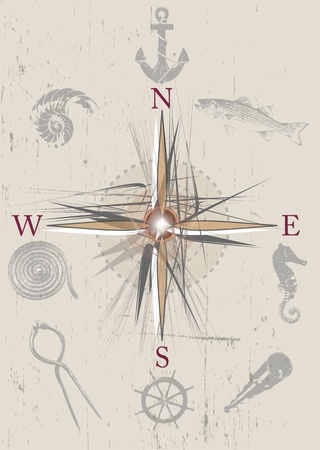 An illustration of a nautical compass with old retro style inset illustrations with a nautical or sea theme. Set on a gringe style background on a portrait format. illustration