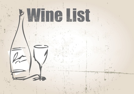 An illustration of a blank wine list with a wine bottle and wine glass set on a landscape format on a grunge style background. Ideal as a poster. Stock Photo