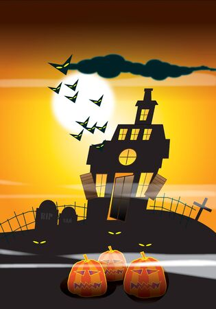 ghostly: An illustration of a haunted house with bats, silhouetted against a moonlight sky background with ghostly eyes and pumpkins to the foreground. Halloween themed.