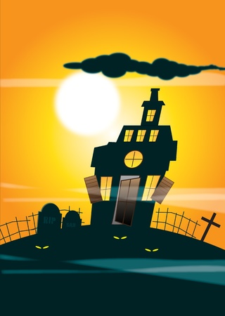 An illustration of a haunted house silhouetted against an orange night time sky background and full moon. Halloween themed. illustration