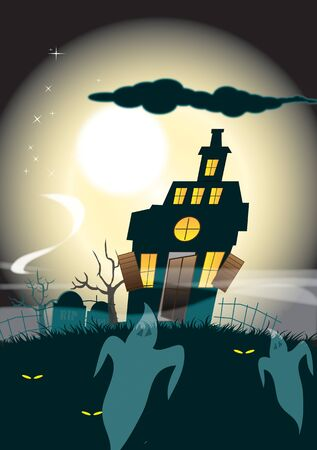 ghostly: An illustration of a haunted house silhouetted against a moonlight sky background with ghostly figures to the foreground. Halloween themed.