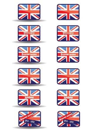 A set of twelve web buttons with a jubilee theme  Buttons with text and a grunge style effect set over the union jack flag  An additional set without a shadow effect to base  For web or print use